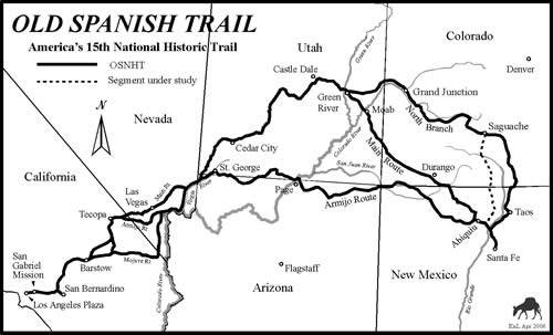 Fort Uncompahgre on the Old Spanish Trail Map